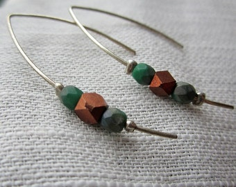 Wire Copper and Green Earrings