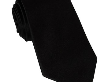 Men's Solid Black Big & Tall Extra Long Necktie, for Formal Occasions