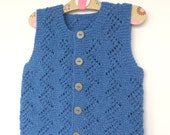Blue baby vest,knit baby boy vest, winter trends