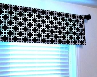 Black & White Gotcha Window Treatment Curtain Valance  Home Office Rod Pocket Curtain HANDMADE in the USA