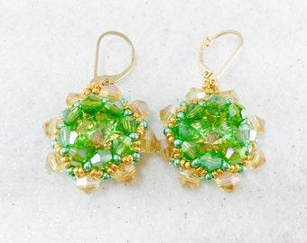 Crystal Earrings, Rivoli Earrings, Beadweave Earrings. Green Crystal Earrings, Gold Crystal Earrings, Crystal Beaded Earrings, Beadwork
