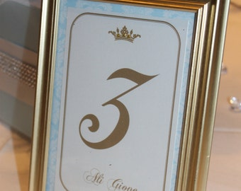Little  Prince Gold and Damask Baby Shower Table Numbers