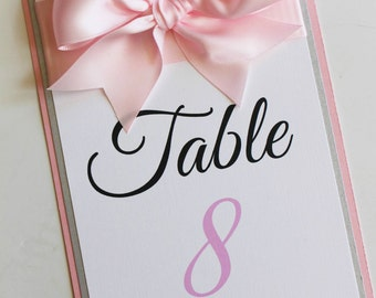 Pink Baby Shower Table Number with Large Bow