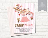 Fall Camping Glamping Birthday Party Printable Digital Invitation