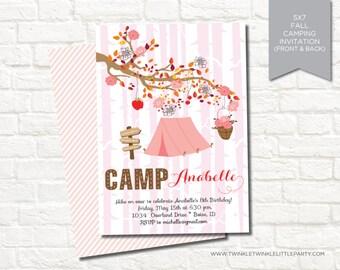 Fall Camping Glamping Birthday Party Printable Digital Invitation