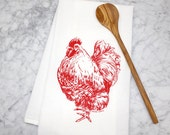Kitchen Towel - Chicken - Rooster - Screen Printed Flour Sack Towel - Eco Friendly Cotton Towel - Tea Towel