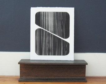 "Enjoy 25% ** use code 25OFF *** Etching Print . Geometric Art in black + white :Slate . Print Size 10"" x 12"" . Unframed ."