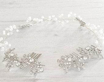 Bridal hair vine. Boho hair halo. Bridal crystal halo Weddings wreath.  Bridal hair wreath accessory. Wedding hair piece.  Pearls hair vine.