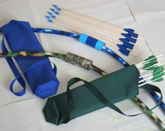 Bows and Arrows, kids two pack, archery safe play party games, lawn recreation, fun toys for outdoor play.
