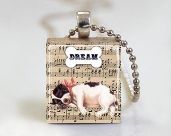 Dog Jewelry. Dog Necklace. Resin Jewelry. Resin Pendant. Cute Pendant. Necklace. Scrabble Tile Pendant. Ball Chain Necklace or Key Ring