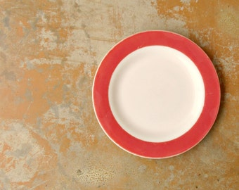 Vintage Pyrex Plate, Flamingo Pink Milk Glass Plate, Unmarked Vintage White Pink, Mid Century Serving Dinner Plate