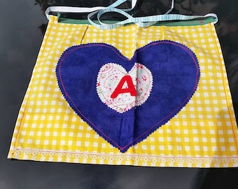Apron for age 5 plus in gingham blue and floral