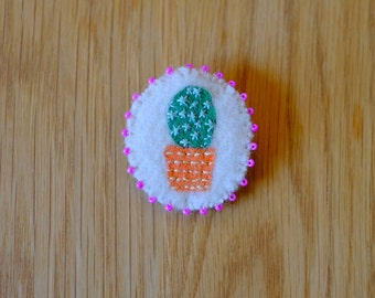 Hand Embroidered Cactus Pin Brooch 100% Wool