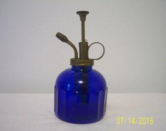 Vintage Cobalt Blue Glass Plant Atomizer - Brass & Cobalt Blue Plant Mister - Soap Dispenser - Plant Sprayer - Plant Mister - Vintage Garden