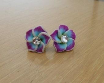 Hawaiian Flower Earrings/Polymer clay plumeria earring/pierced flower earring/womens flower earrings/girls flower earrings/post flower earri