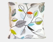 Blue orange chartreuse green decorative throw pillow cover. 1 cover for 20x20 cushion insert. Minimalist modern mod retro decor foliage leaf