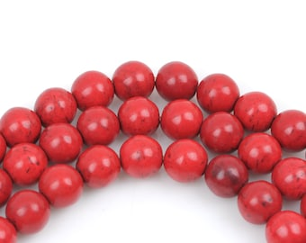 1 strand Synthetic Howlite Stone Beads ROUND Ball 10mm, CRIMSON RED how0327
