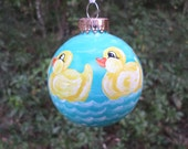 Hand Painted Ornament with rubber ducks no175