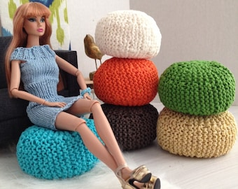 Exclusive! Handknitted Pouf Ottoman for sixth scale or playscale diorama or dollhouse