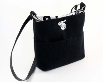 BLACK Cashmere Wool Cross-body Bag-Purse / Lined, 3 Pockets & Leather Strap (Ooak) From Upcycled Cashmere : Eco Friendly Gift Gift #0112