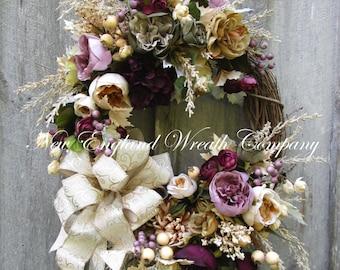 Fall Wreath, Autumn Wreath, Fall Floral Wreath, Victorian Wreath, Designer Wreath, Country French, Elegant Fall Wreath, Wedding Wreath