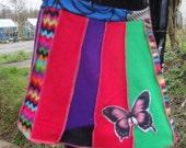 fleece rainbow snuggle zig zag polka dot handmade overlocked stretch fairy butterfly skirt uk size 12 14