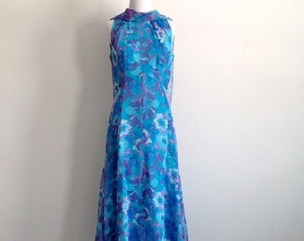 25% SALE SALE 60s Blue Floral Chiffon Maxi Dress - Size Medium to Large
