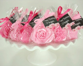 10 Bridal Shower Favors - Pinks- Soap Favors - Decorative Hearts & Roses