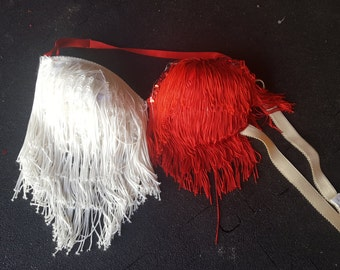 Two tone red and white fringe bra - burlesque - 34C