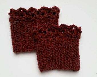 Boot Cuffs Boot Toppers Crochet Lace Womens Boot Cuff Set Ready to Ship