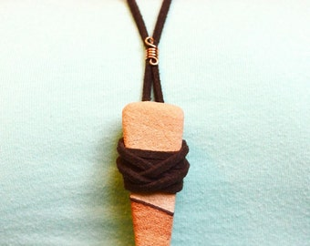 Sandstone Woven Leather Wrapped Necklace