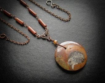 Ammonite Fossil Pendant Necklace. Serpentstone Pendant.