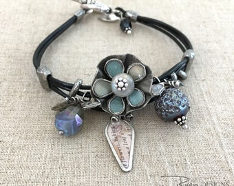 Bohemian Leather Bracelet - Boho Leather Jewelry Bracelet - Black Leather Flower Bracelet - Blue Bracelet - Unique Gift Ideas