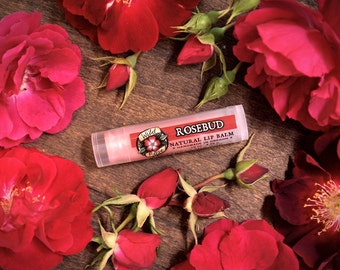 ROSEBUD Natural Lip Balm with Organic Rose Extract - Floral .15 oz - Gardener stocking stuffer
