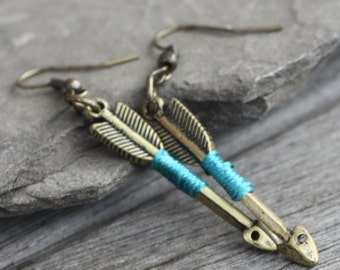 Color Wrapped Arrow Earrings - Brass Earrings, Archer Earrings, Archery Earrings, Arrow Jewelry
