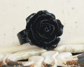 Black Rose Ring - Black Brass Adjustable Band - Black ring, black jewelry, goth ring, gothic jewelry