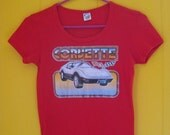 on sale Vintage T Shirt, Corvette T Shirt, VIntage Iron On, VIntage 80s, 1980s Vintage Tee, Scoopneck T Shirt, Glitter Decal, Small 80s Shir