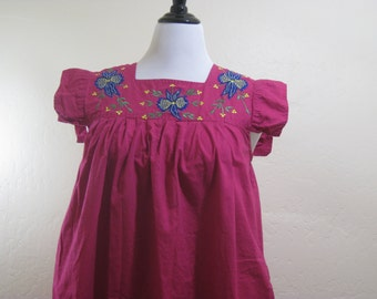 Vintage Dress, Cotton Housedress, Embroidered Dress, Mumu, Vintage Housedress, Lounge Dress, Vacation Clothing, Grandma Style, Maroon Dress