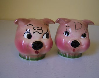 DeForest California Pottery Pig Salt and Pepper Shakers