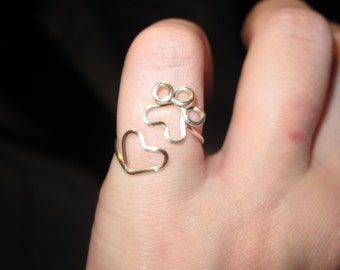 Wire Wrapped Paw Print Heart Adjustable Ring MADE to ORDER