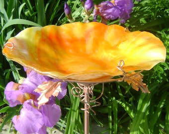 "BIRD BATH, Stained Glass, 8.25"" diameter, Orange-Yellow, Copper Art, GARDEN Art, Bird Feeder, Garden Suncatcher"