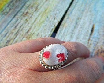 Adjustable ring 925 real gross Ruby 17 / 13mm
