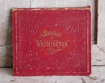 Victorian Souvenir Washington DC Book Red Fold Out Keepsake