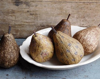 Handmade Primitive Golden Pear Bowl Fillers, Folk Art Decor, Mustard Yellow Fabric Pears