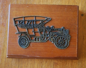Vintage Playing Cards -Wood Box Set -  Bridge - Rummy - Canasta Set - Vintage Cars - MidCentury - 1980's