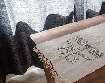 ON SALE Lovely Vintage Cotton Table Runner with crocheted edges and intricate embroidered design, unique and stunning piece