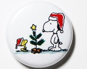 Snoopy and Woodstock Christmas - 1 inch Button, Pin or Magnet
