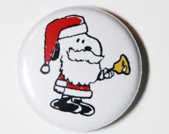 Santa Snoopy - 1 inch Button, Pin or Magnet