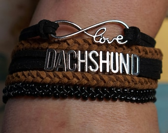 Infinity love bracelet, infinity bracelet, infinity dachshund bracelet, black and tan leather bracelet, beaded bracelet, pet bracelet, boho