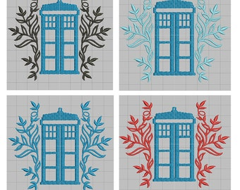 Dr Who Embellished Tardis Machine Embroidery design 4x4